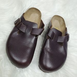 Birkenstock Boston Pebbled Leather Clogs Size 38